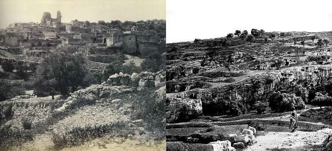 Deux collines parsemées d'arbres et de ruines. Au pied de l'une d'elle, se tient un Palestinien.