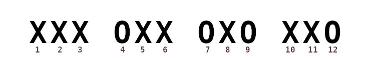 3 X, O, 2 X, O, X, O, 2 X, O.